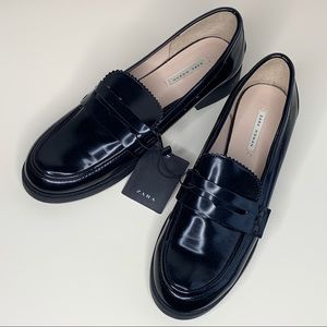 NEW Zara Black Paten Loafers